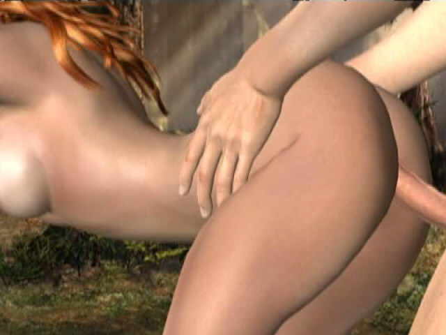 Playful redhead 3D tremendous mannequin Molly getting fucked doggy fashion open air