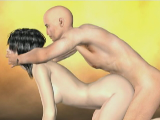 Raven haired 3D girlfriend getting fucked doggy model by her bald boyfriend
