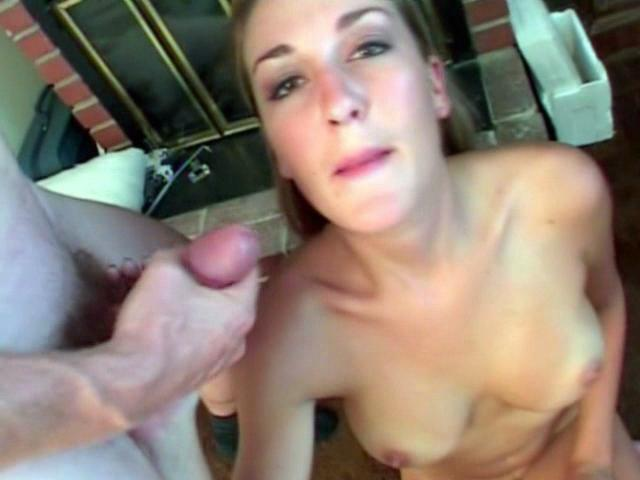 Luscious blonde babe Brie sucking two large cocks and getting facialized