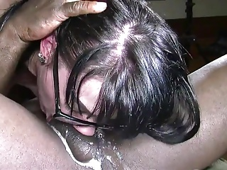 Good dimension for interracial cuckold, cum deep in her throat