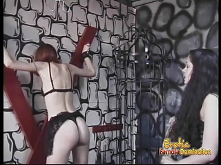 Slim redhead hottie enjoys having some bondage enjoyable with