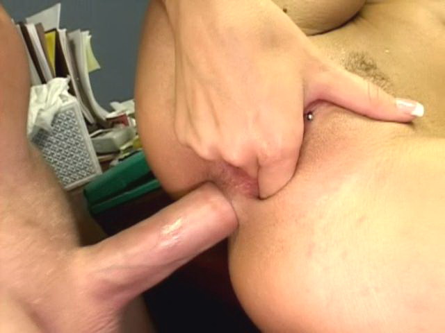 Beautiful workplace babe Alektra Blue getting anally penetrated by a big shaft from behind