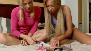 Pigtailed blond European teen ladies Lindsey and Irina getting nasty within the bed room